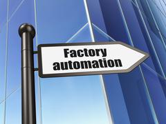 Industry concept: sign Factory Automation on Building background Stock Illustration