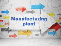 Industry concept: arrow with Manufacturing Plant on grunge wall background Piirros