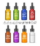 Colorful E-liquid Bottle Set. Vector Stock Illustration