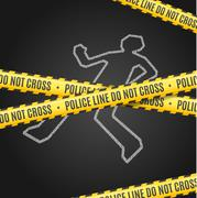 Police Line with a Chalk Outline of the Body. Vector Stock Illustration