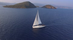 Aerial View of A Bare Boat Sailing in Mediterranean Sea Stock Footage