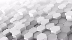 White hexagons extruding chaotic 3D render loopable animation 4k UHD (3840x2160) Stock Footage