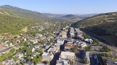 Flying along Main Street in Park City from Above Stock Footage