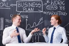 Discussing the most efficient marketing solutions Stock Photos
