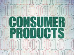 Finance concept: Consumer Products on Digital Data Paper background Stock Illustration