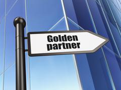 Business concept: sign Golden Partner on Building background Stock Illustration
