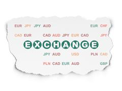 Money concept: Exchange on Torn Paper background Stock Illustration