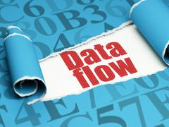 Information concept: red text Data Flow under the piece of  torn paper Stock Illustration