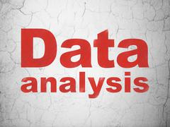 Information concept: Data Analysis on wall background Stock Illustration