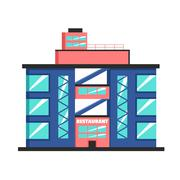 Restaurant building. Flat vector illustration. Constructivism style Stock Illustration
