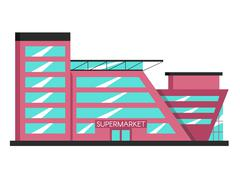 Supermarket building. Flat vector illustration. Constructivism style Stock Illustration