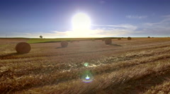 Harvested field rural landscape drone haystacks horizon sun blue sky agriculture Stock Footage