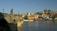 Morning shot of the Charles Bridge and Prague Castle Stock Footage