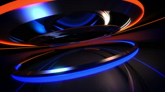 Abstract background in the form of the moving rings and a metal surface Stock Footage