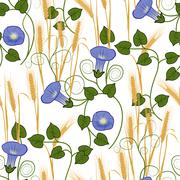 Bindweed and wheat on a white background seamless pattern Stock Illustration
