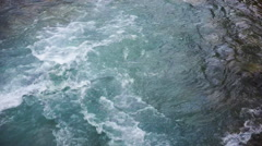 Fast moving water from lake with rocks on the side Stock Footage