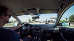 Driving in Los Angeles in Volkswagen on the 405 Freeway Day Timelapse Stock Footage