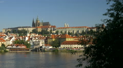 Static shot of Prague Castle and the Vltava River Stock Footage
