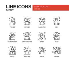 Family - line design icons set Stock Illustration