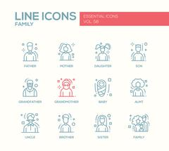 Family - line design icons set Stock Illustration