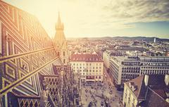 Retro stylized picture of Vienna at sunset Stock Photos