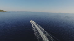 Motor boat is sailing at high speed on the Adriatic Sea Stock Footage