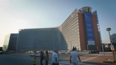 Berlaymont office building exterior European Commission Union EU Brussels sunny Stock Footage
