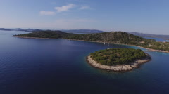 Aerial view of small island archipelago in Adriatic Sea Stock Footage