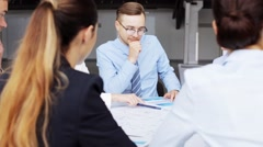 Business team with scheme meeting at office 40 Stock Footage