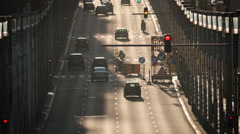 Street traffic road construction cars vehicles drive asphalt sunny day Brussels Stock Footage