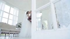 Wedding Couple Indoors Stock Footage
