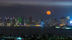 Downtown San Diego Moon Rise Timelapse Stock Footage