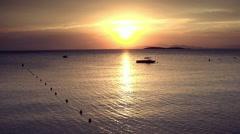 Greek island seascape at sunset/dusk. Stock Footage