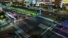 Downtown San Diego Petco Park Area Traffic Night Timelapse Stock Footage
