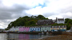 4K UltraHD A Timelapse, colorful buildings in Portree, Isle of Skye, Scotland Stock Footage