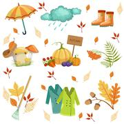 Set Of Associated With Autumn Objects Stock Illustration