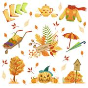Set Of Autumn Related Objects Stock Illustration