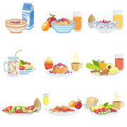 Different Breakfast Food And Drink Sets Stock Illustration