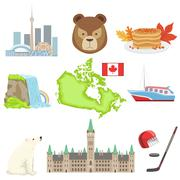 Canadian National Symbols Set Stock Illustration