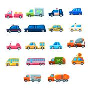 Cute Toy Car Set Of Icons Stock Illustration