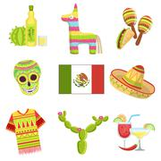 Mexican National Symbols Set Piirros