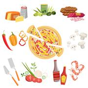 Pizza Ingredients And Cooking Utensils Set Stock Illustration