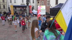 WYD Krakow 2016 - public stage in street, teenagers group + audio Stock Footage