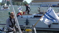 Crews of yachts preparing for the race Stock Footage