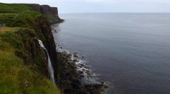 4K UltraHD A Waterfall into sea, Isle of Skye, Scotland Stock Footage