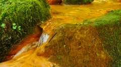 Mineral water comes out of plastic pipe .Cascades in stream of mineral water. Stock Footage