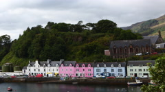 4K UltraHD A Timelapse of colorful buildings in Portree, Skye, Scotland Stock Footage