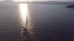 Boat sailing in Mediterranean Sea Aerial Footage Stock Footage