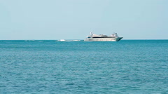 White speed yacht in open waters Stock Footage