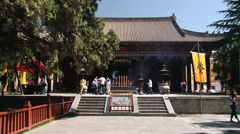 People visit temple next to Qin Shi Huang tomb in Xian, China. Stock Footage